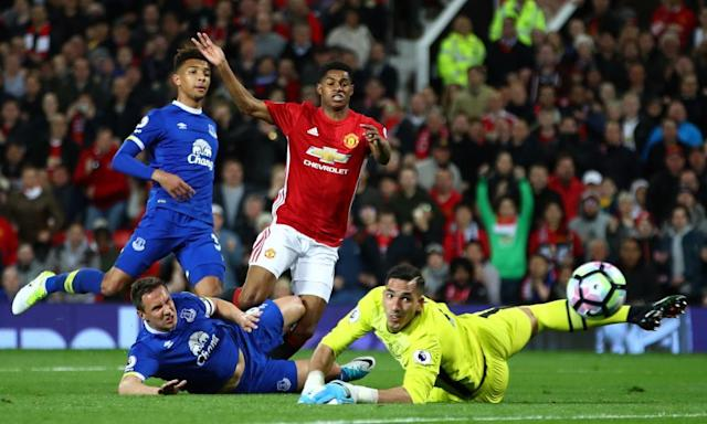"<span class=""element-image__caption"">Joel Robles, right, saves a shot by Manchester United's Marcus Rashford during the draw at Old Trafford. </span> <span class=""element-image__credit"">Photograph: Clive Brunskill/Getty Images</span>"