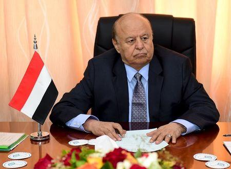 Yemen's President Abd-Rabbu Mansour Hadi sits during a meeting with government officials in the country's southern port city of Aden