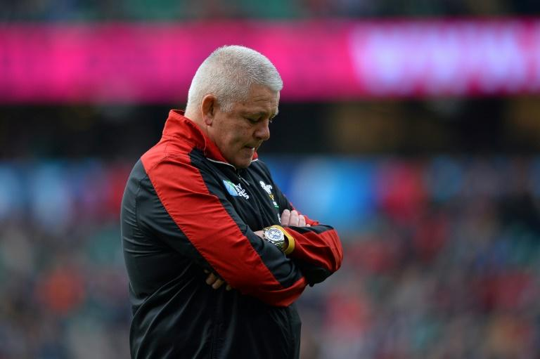 Wales' head coach Warren Gatland looks on  prior to a quarter final match of the 2015 Rugby World Cup between South Africa and Wales at Twickenham stadium, southwest London, on October 17, 2015