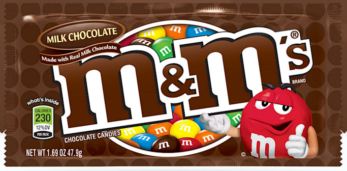 """<p><strong>M&M's</strong><br></p><p>These little candies have a very colorful <a href=""""http://www.history.com/news/hungry-history/the-wartime-origins-of-the-mm"""" rel=""""nofollow noopener"""" target=""""_blank"""" data-ylk=""""slk:origin story"""" class=""""link rapid-noclick-resp"""">origin story</a>. During the Spanish Civil war, Forest Mars Sr., son of the inventor of the Milky Way, witnessed soldiers eating small chocolate beads covered in hard sugar shells and was inspired. Chocolate sales typically dropped during the summer when temperatures rose and Mars was excited at the idea of inventing a product that wouldn't melt. He and Bruce Murrie, son of Hershey executive William Murrie, joined together to create the original M&M's (Mars + Murrie = M&M). </p><p>In 1941, Mars received a patent for his product and began mass-producing the little chocolate in Newark, NJ. They were originally sold in tubes and shelled in brown, red, orange, yellow, green, and violet coatings and only available to soldiers in the war. The candies were first stamped with a black """"M"""" in 1950, which later changed to the white """"M"""" we know and love today in 1954. </p>"""