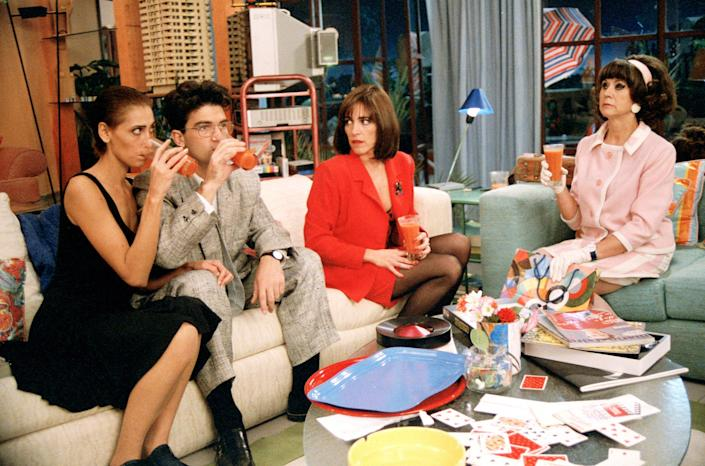 From left: Maria Barranco, Antonio Banderas, Carmen Maura, and Julieta Serrano in Mujeres al Borde de un Ataque de Nervios, as the film is known in Spanish.