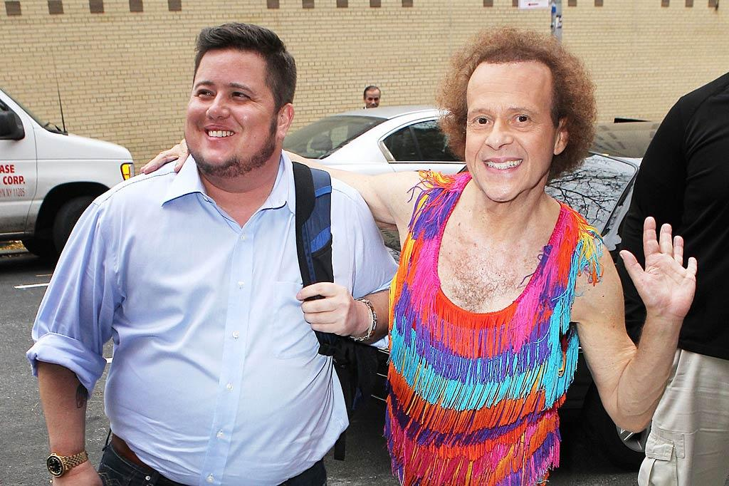 """Chaz Bono, who recently got voted off """"Dancing WIth the Stars,"""" was comforted by legendary fitness guru Richard Simmons when the two bumped into each other outside the studio for """"The Wendy Williams Show"""" in New York on Tuesday. And yes, we've noticed Richard's hair. And no, we can't explain it."""