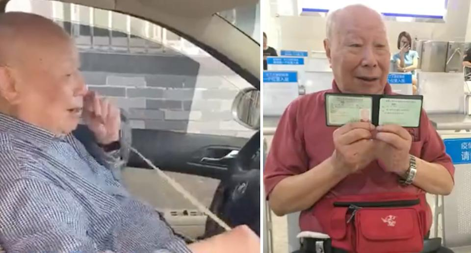 Mr Shi proudly holds his licence (right) as he prepares to get back on the roads. Source: The Paper