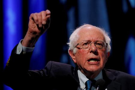 FILE PHOTO: U.S. 2020 Democratic presidential candidate and Senator Bernie Sanders participates in a moderated discussion at the We the People Summit in Washington, U.S., April 1, 2019. REUTERS/Carlos Barria/File Photo