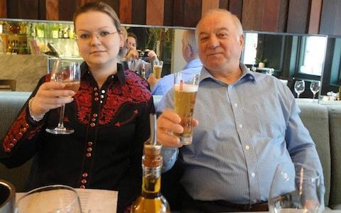 <span>Sergei Skripal with his daughter Yulia, who has been released from hospital in Salisbury</span>