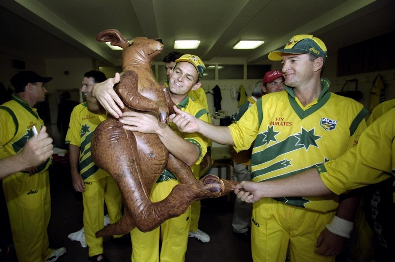 20 Jun 1999:  Adam Gilchrist and Mark Waugh of Australia with a kangaroo after victory over Pakistan in the Cricket World Cup Final at Lord's in London. Australia won by 8 wickets. \ Mandatory Credit: Clive Mason /Allsport
