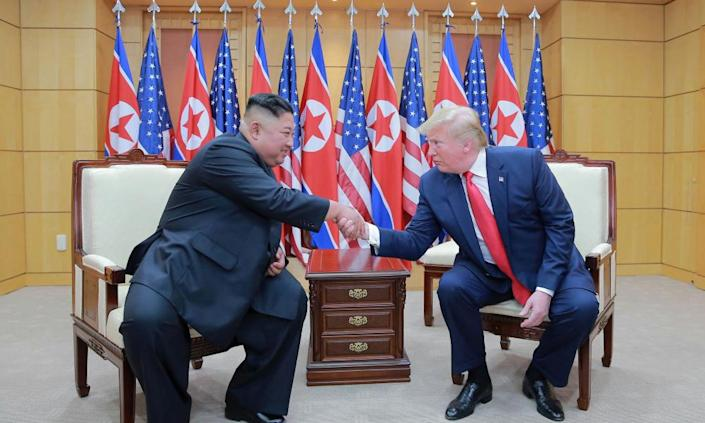 """<span class=""""element-image__caption"""">Donald Trump's three meetings with Kim Jong-un have produced nuclear arms control agreement.</span> <span class=""""element-image__credit"""">Photograph: Kcna Kcna/Reuters</span>"""