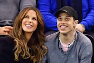 """Kate Beckinsale and Pete Davidson were <a href=""""https://www.glamour.com/story/kate-beckinsale-pete-davidson-relationship-timeline?mbid=synd_yahoo_rss"""" rel=""""nofollow noopener"""" target=""""_blank"""" data-ylk=""""slk:first spotted flirting"""" class=""""link rapid-noclick-resp"""">first spotted flirting</a> at a Golden Globes party in January, but their relationship was over by spring. In April a source <a href=""""https://www.etonline.com/kate-beckinsale-and-pete-davidson-not-currently-dating-but-still-friendly-source-says-exclusive"""" rel=""""nofollow noopener"""" target=""""_blank"""" data-ylk=""""slk:told ET"""" class=""""link rapid-noclick-resp"""">told <em>ET</em></a> that Beckinsale and Davidson broke up. """"They're still friendly but are not on romantic terms,"""" the source said."""