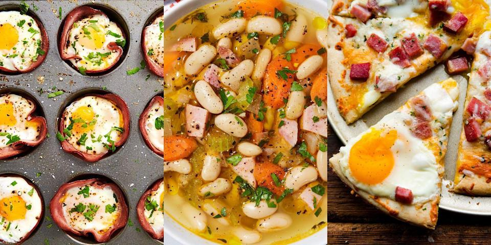 """<p>It might be <a href=""""https://www.delish.com/uk/cooking/recipes/g29710149/christmas-ham-recipes/"""" rel=""""nofollow noopener"""" target=""""_blank"""" data-ylk=""""slk:Christmas"""" class=""""link rapid-noclick-resp"""">Christmas</a>, <a href=""""https://www.delish.com/uk/cooking/recipes/g30764830/easter-recipes/"""" rel=""""nofollow noopener"""" target=""""_blank"""" data-ylk=""""slk:Easter"""" class=""""link rapid-noclick-resp"""">Easter</a> or a special occasion of some sort where you've decided to cook ham. But you've been left swimming in leftovers. No biggie. There's SO much you can do with leftover ham, like <a href=""""https://www.delish.com/uk/cooking/recipes/a34411655/ham-and-bean-soup-recipe/"""" rel=""""nofollow noopener"""" target=""""_blank"""" data-ylk=""""slk:Ham & Bean Soup"""" class=""""link rapid-noclick-resp"""">Ham & Bean Soup</a> (it's amaze), <a href=""""https://www.delish.com/uk/cooking/recipes/a29030029/ham-cheese-egg-cups-recipe/"""" rel=""""nofollow noopener"""" target=""""_blank"""" data-ylk=""""slk:Ham & Cheese Egg Cups"""" class=""""link rapid-noclick-resp"""">Ham & Cheese Egg Cups</a> and even <a href=""""https://www.delish.com/uk/cooking/recipes/a32593896/ham-cheese-tortellini-recipe/"""" rel=""""nofollow noopener"""" target=""""_blank"""" data-ylk=""""slk:Tortellini"""" class=""""link rapid-noclick-resp"""">Tortellini</a>. Like we said, there's lots and lots for you to whip up with any leftover ham. So, if you're after some well-needed ham inspiration, we've got you covered with more delicious recipes than you could've ever imagined. </p><p>Swimming in <a href=""""https://www.delish.com/uk/cooking/recipes/g34435660/leftover-lamb-recipes/"""" rel=""""nofollow noopener"""" target=""""_blank"""" data-ylk=""""slk:lamb leftovers"""" class=""""link rapid-noclick-resp"""">lamb leftovers</a>? We've got a bunch of ideas on how to use up leftover lamb, too!</p>"""