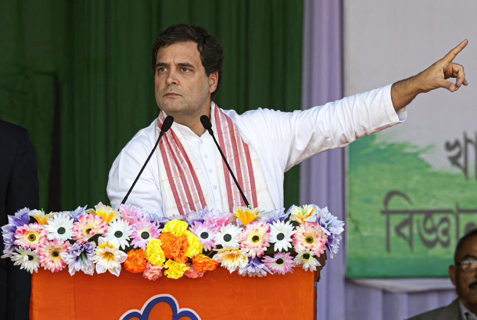 India's opposition Congress party leader Rahul Gandhi speaks at a rally against the Citizenship Amendment Act in Gauhati, India, Saturday, Dec. 28, 2019. Tens of thousands of protesters have taken to India's streets to call for the revocation of the law, which critics say is the latest effort by Narendra Modi's government to marginalize the country's 200 million Muslims. (AP Photo/Anupam Nath)