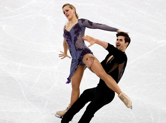 Figure Skating - Pyeongchang 2018 Winter Olympics - Ice Dance short dance competition - Gangneung Ice Arena - Gangneung, South Korea - February 19, 2018 - Zachary Donohue and Madison Hubbell of the U.S. perform. REUTERS/Damir Sagolj TPX IMAGES OF THE DAY