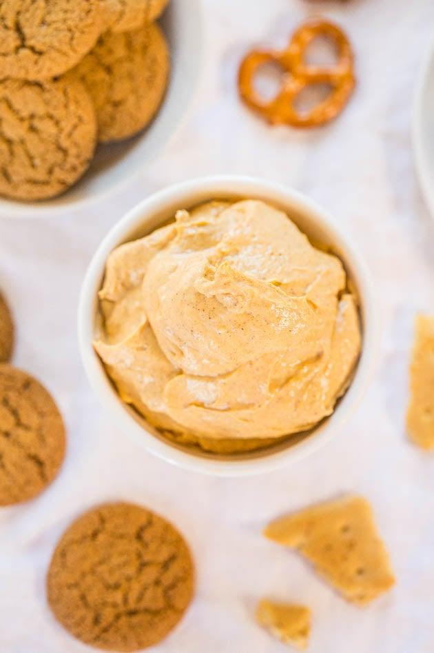 "<p>If you have a soft spot for dips, this pumpkin-pie-inspired dish will make your mouth water. With only six ingredients, this sweet appetizer can be made in minutes. Dip pretzels, graham crackers, and more into it!</p> <p><strong>Get the recipe:</strong> <a href=""https://www.averiecooks.com/skinny-pumpkin-pie-dip/"" class=""link rapid-noclick-resp"" rel=""nofollow noopener"" target=""_blank"" data-ylk=""slk:pumpkin pie dip"">pumpkin pie dip</a></p>"