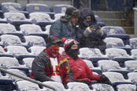 Kansas City Chiefs fans look on before an NFL football game against the Denver Broncos, Sunday, Oct. 25, 2020, in Denver. (AP Photo/Jack Dempsey)