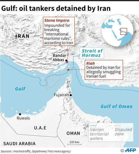 Map of the Hormuz Strait locating oil tankers detained by Iran