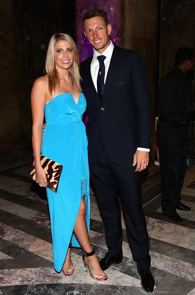 LONDON, ENGLAND - JULY 16:  James Pattinson of Australia and his partner Kayla Dickson  arrive for the Australian Cricket Team visit to the Australian High Commision on July 16, 2013 in London, England.  (Photo by Ryan Pierse/Getty Images)