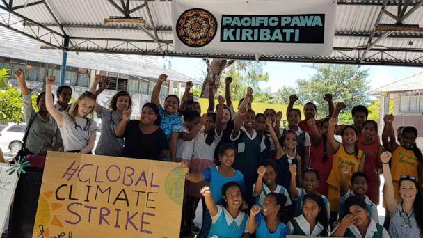 PHOTO: Students from various schools participate in a climate change protest in Tarawa, Kiribati, September 20, 2019 in this picture obtained from social media. (Jess Lugsdin via Reuters)