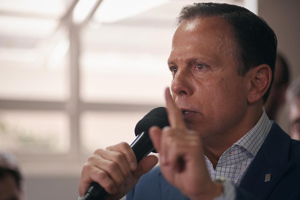 The Governor of Sao Paulo, João Doria (PSDB), during the inauguration of the Defense Police Station and the Women's Reference Center in Franca, Sao Paulo, Brazil, on 26 November 2019. (Photo by Igor Do Vale/NurPhoto via Getty Images)
