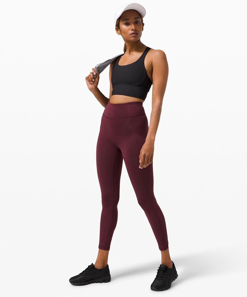 """<h2>Invigorate High-Rise Tight 25""""</h2><br><br><strong>Designed For: Training</strong><br>Powered by the Everlux™ fabric, keep your sweat-free confidence throughout your intense work-outs (both in and out of the gym). <br><br><em>Shop</em> <strong><em><a href=""""https://shop.lululemon.com/c/womens-leggings/_/N-8s6"""" rel=""""nofollow noopener"""" target=""""_blank"""" data-ylk=""""slk:Lululemon Leggings"""" class=""""link rapid-noclick-resp"""">Lululemon Leggings</a></em></strong><br><br><strong>Lululemon</strong> Invigorate High-Rise Tight 25"""", $, available at <a href=""""https://go.skimresources.com/?id=30283X879131&url=https%3A%2F%2Fshop.lululemon.com%2Fp%2Fwomens-leggings%2FInvigorate-HR-Tight-25-MD%2F_%2Fprod9890061%3Fcolor%3D26950%26sz%3D0"""" rel=""""nofollow noopener"""" target=""""_blank"""" data-ylk=""""slk:Lululemon"""" class=""""link rapid-noclick-resp"""">Lululemon</a>"""