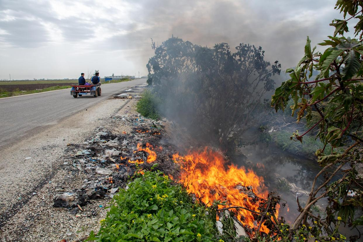 Rubbish burning on the side of a road in Turkey