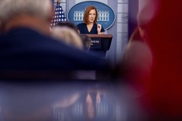 White House press secretary Jen Psaki speaks during a press briefing in the briefing room of the White House in Washington, Thursday, July 22, 2021. (AP Photo/Andrew Harnik)