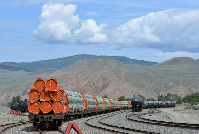 Steel pipe to be used in the oil pipeline construction of Kinder Morgan Canada's Trans Mountain Expansion Project sit on rail cars at a stockpile site in Kamloops, British Columbia, Canada May 29, 2018. (REUTERS/Dennis Owen/File Photo)