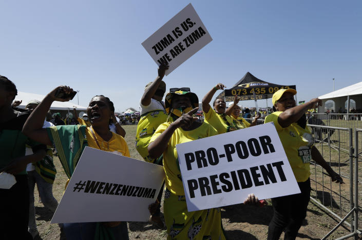 Supporters of former President Jacob Zuma attend a welcoming prayer rally in Durban, South Africa, Thursday, Oct.14, 2021. Zuma was recently released on medical parole after serving part of a 15-month jail term for contempt of court. (AP Photo/Themba Hadebe)