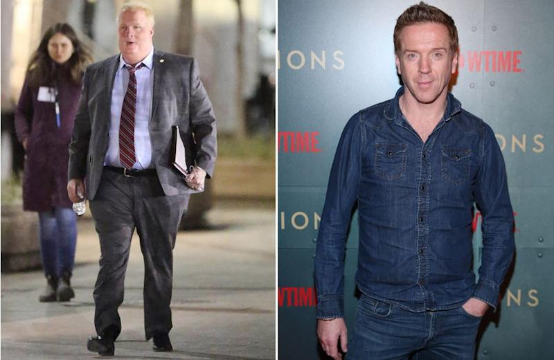 Lewis as Rob Ford on the left and at the <em>Billions</em> premiere in March on the right