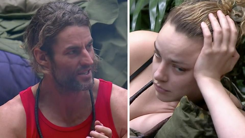 I'm A Celebrity viewers are slamming Ash Williams for rejecting Abbie Chatfield for Alli Simpson just hours after they were sharing a sleeping bag. Photo: Ten