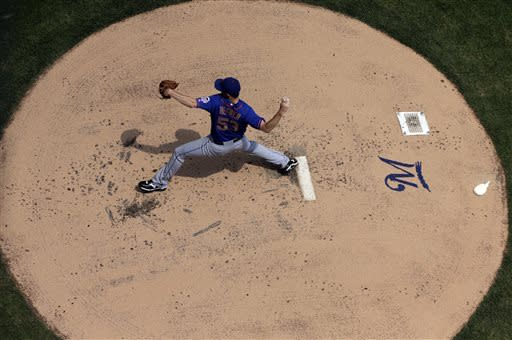 New York Mets starting pitcher Jeremy Hefner throws during the first inning of a baseball game against the Milwaukee Brewers, Sunday, July 7, 2013, in Milwaukee. (AP Photo/Morry Gash)