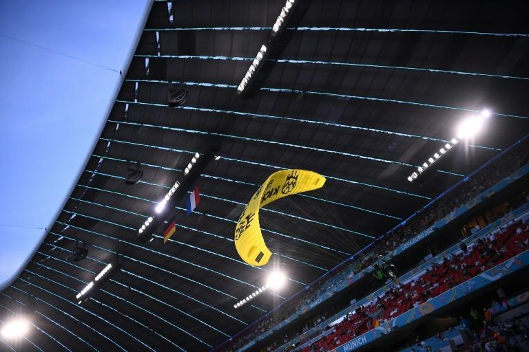 Two people were injured in the emergency landing inside the Allianz Arena