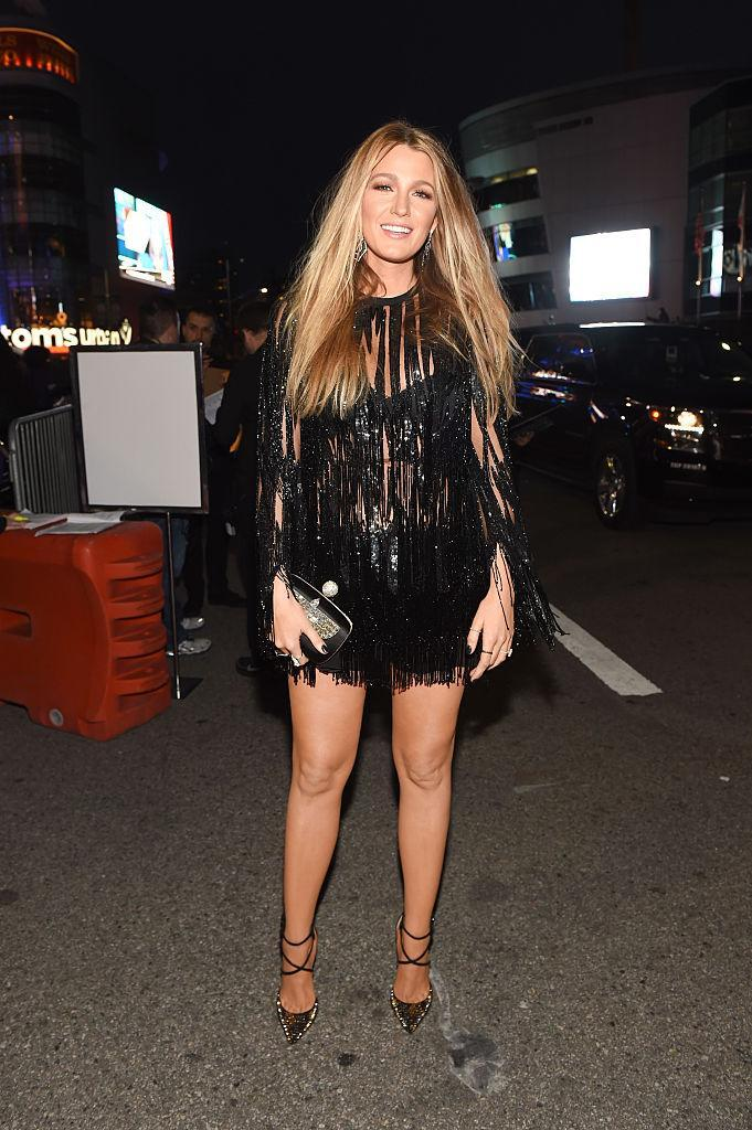 <p>In contrast to a lot of her softer looks, Blake played up her edgy side in this black fringed number for the People's Choice Awards.<br><i>[Photo: Getty]</i> </p>