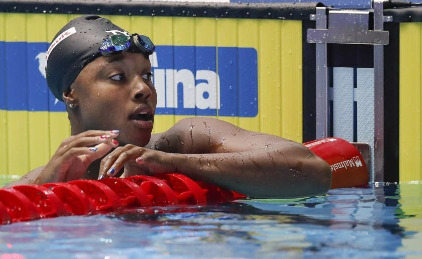 United States' Simone Manuel reacts after winning the women's 50m freestyle final at the World Swimming Championships in Gwangju, South Korea, Sunday, July 28, 2019. (AP Photo/Lee Jin-man)