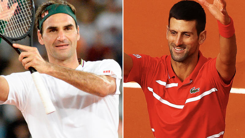 Roger Federer and Novak Djokovic, pictured here in action on the tennis court.