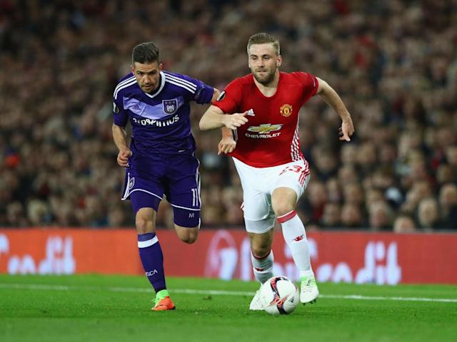 Luke Shaw sets off on another run down the left flank (Getty )