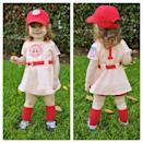 """<p>There's no crying in baseball … unless, of course, you are a toddler.</p><p><strong>Get the tutorial at <a href=""""http://teamshepblog.blogspot.com/2013/11/theres-no-crying-in-baseball.html?m=1"""" rel=""""nofollow noopener"""" target=""""_blank"""" data-ylk=""""slk:Team Shep Blog"""" class=""""link rapid-noclick-resp"""">Team Shep Blog</a>.</strong></p><p><strong><a class=""""link rapid-noclick-resp"""" href=""""https://www.amazon.com/Toddler-League-Their-Dottie-Costume/dp/B01BKZHR6S/?tag=syn-yahoo-20&ascsubtag=%5Bartid%7C10050.g.4975%5Bsrc%7Cyahoo-us"""" rel=""""nofollow noopener"""" target=""""_blank"""" data-ylk=""""slk:SHOP COSTUME"""">SHOP COSTUME</a></strong></p>"""