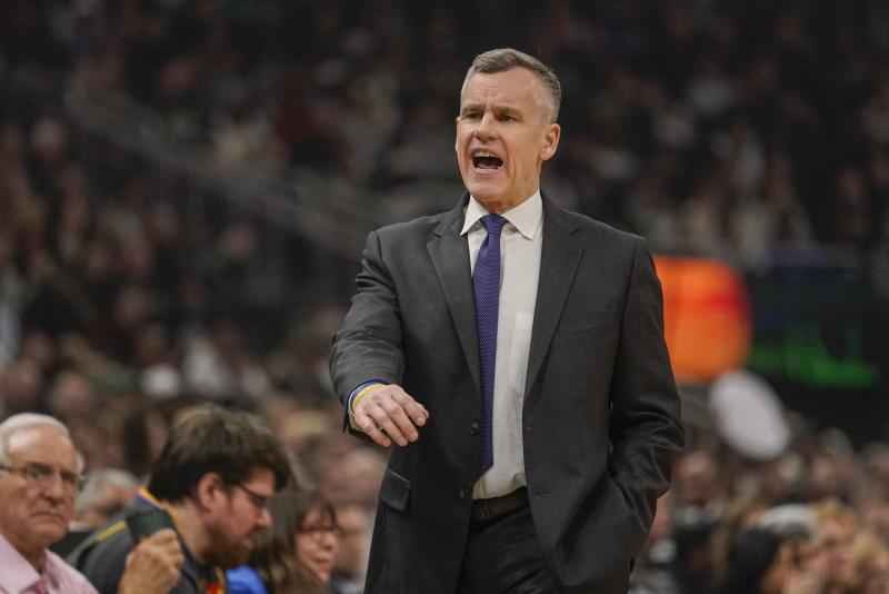 Oklahoma City Thunder head coach Billy Donovan reacts during the first half of an NBA basketball game against the Milwaukee Bucks Friday, Feb. 28, 2020, in Milwaukee. (AP Photo/Morry Gash)