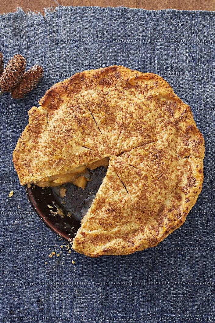 """<p>Along with typical fall spices, like cinnamon, this unique pie also has chipotle chile powder for a subtle kick.<br> </p><p><strong><a href=""""https://www.thepioneerwoman.com/food-cooking/recipes/a33918465/spiced-apple-pie-recipe/"""" rel=""""nofollow noopener"""" target=""""_blank"""" data-ylk=""""slk:Get the recipe."""" class=""""link rapid-noclick-resp"""">Get the recipe.</a></strong> </p>"""