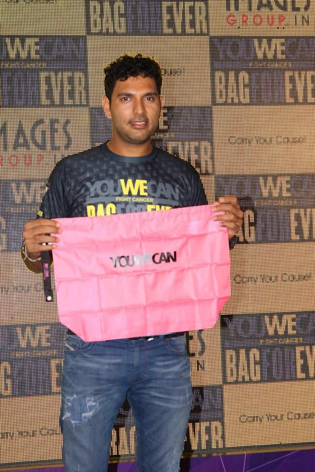 Mumbai: Cricketer Yuvraj Singh launches You We Can Fight Cancer, a BagForever initiative in Mumbai, on March 18, 2015. (Photo: IAN)