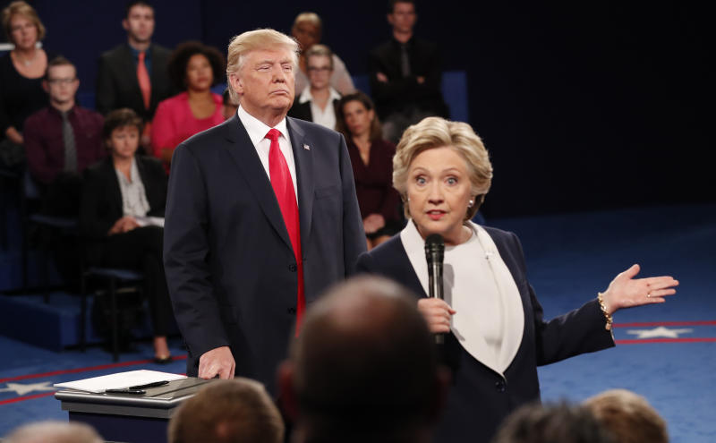Presidential rivals Donald Trump and Hillary Clinton at the Oct. 9, 2016, debate. (Rick Wilking / Reuters)