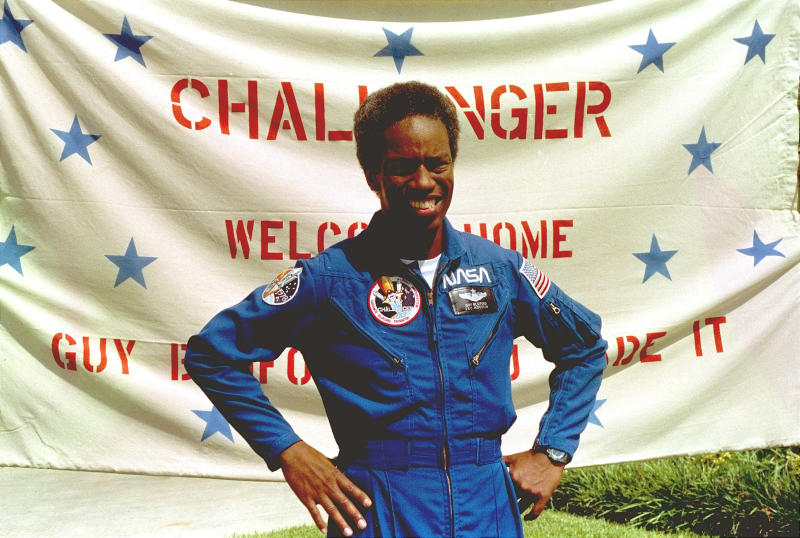 "In this Sept. 5, 1983, file photo, Guion Bluford, Jr., shuttle Challenger mission specialist, is shown in portrait on returning to the Johnson Space Center in Houston, Texas. The documentary ""Black in Space: Breaking the Color Barrier"" is scheduled to air on the Smithsonian Channel on Monday, Feb. 24, 2020, and examines the race to get black astronauts into space. (AP photo, File)"