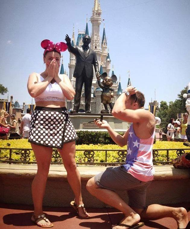 James popped the question at Disney World in Florida. Photo: Mega