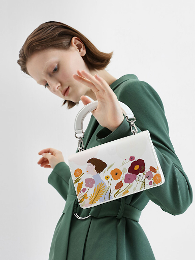 Charles & Keith by Oamul Lu: Floral Illustration Mini Top Handle Bag