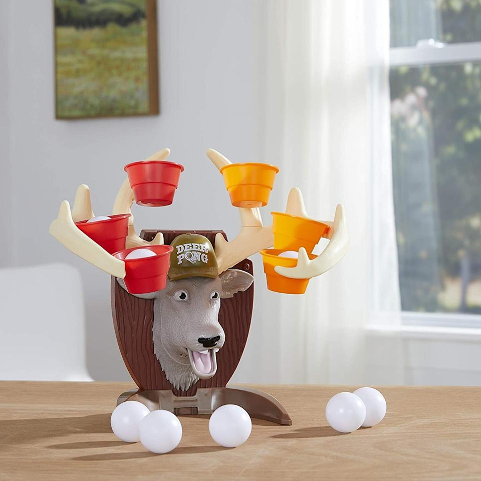 """It's sure to take parents back to their college drinking days, but still fun for the whole family. Bounce or throw the balls into the cups while Bucky trash-talks and try not to call your children """"bro"""" while playing.<br /><br /><strong>Promising review:</strong>""""It's cool, the kids love it. It made for some fun at a party, and they play from time to time still. The joke setting does get a bit old, but it is a little more than billy bass says, so there is that. It is worth the money, and looks cool hanging on my sons' wall over a fake fireplace."""" --<a href=""""https://www.amazon.com/dp/B083YKK5N4?tag=huffpost-bfsyndication-20&ascsubtag=5764152%2C39%2C40%2Cd%2C0%2C0%2C0%2C962%3A1%3B901%3A2%3B900%3A2%3B974%3A3%3B975%3A2%3B982%3A2%2C16002278%2C0"""" target=""""_blank"""" rel=""""noopener noreferrer"""">Kevin Mimms</a><br /><br /><strong>Get it from Amazon for <a href=""""https://www.amazon.com/dp/B083YKK5N4?tag=huffpost-bfsyndication-20&ascsubtag=5764152%2C39%2C40%2Cd%2C0%2C0%2C0%2C962%3A1%3B901%3A2%3B900%3A2%3B974%3A3%3B975%3A2%3B982%3A2%2C16002278%2C0"""" target=""""_blank"""" rel=""""noopener noreferrer"""">$13.79</a>.</strong>"""