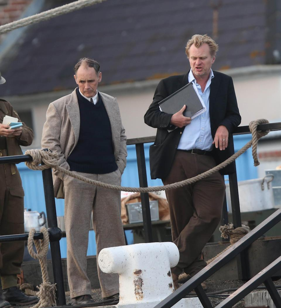 Rylance and Nolan on the set of Dunkirk (Credit: KGC-49-182/STAR MAX/IPx)
