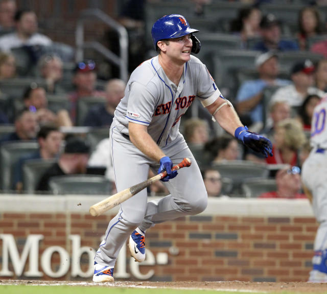 New York Mets Pete Alonzo singles in two runs against the Atlanta Braves during the fifth inning of a baseball game Thursday, Aug. 15, 2019, in Atlanta. (AP Photo/Tami Chappell)