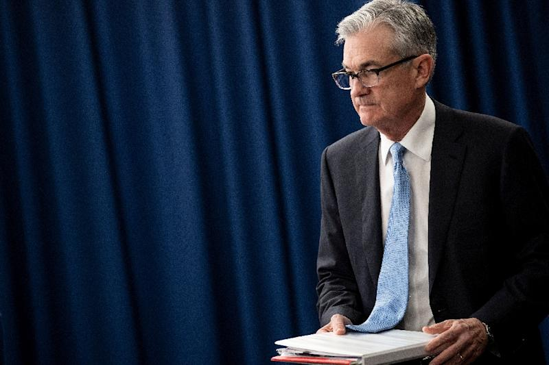 Federal Reserve Chairman Jerome Powell during a press briefing after a Federal Open Market Committee meeting March 20, 2019 in Washington, DC (AFP Photo/Brendan Smialowski)