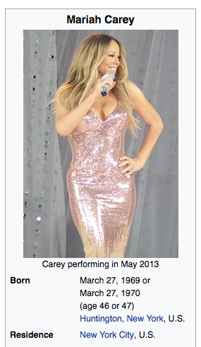 Not even Mariah Carey's Wikipedia page has the answer. (Screenshot: Wikipedia)