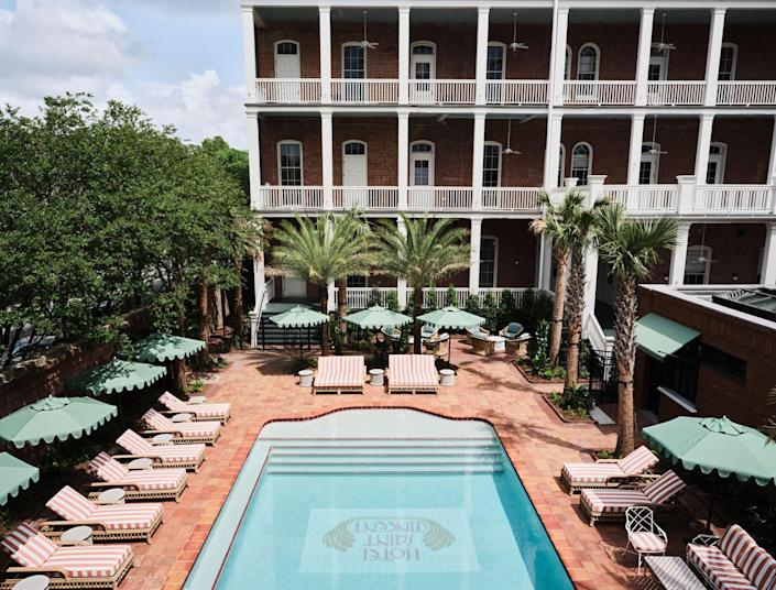 The courtyard pool at the new Hotel Saint Vincent.