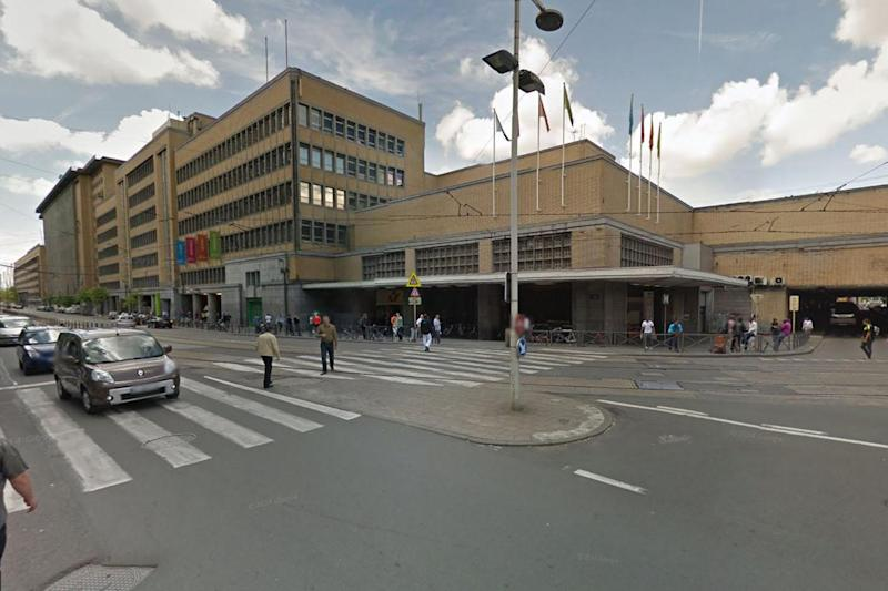 Security alert: An area close to the main train station in Brussels has been taped off: Google maps