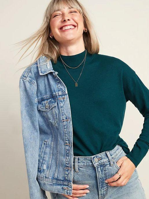 """This Mock-Neck Sweater for Women is available in sizes XS to XXL in seven colors. <a href=""""https://fave.co/3eQW8NP"""" target=""""_blank"""" rel=""""noopener noreferrer"""">Get it on sale for 50% off (normally $30) at Old Navy</a>."""
